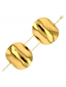 Pulsera de acero amarilla con grandes formas ovaladas. 318032 One Man Show 82,00€