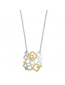 Necklace of openwork squares in steel and yellow color 317065 One Man Show 56,00 €