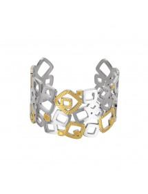 Bracelet manchette carrés en acier et doré strié 318088 One Man Show 68,00€