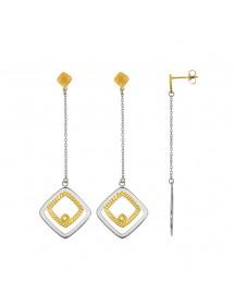 Boucles d'oreilles pendantes carrés emboîtés en acier et doré strié 313069 One Man Show 54,00€