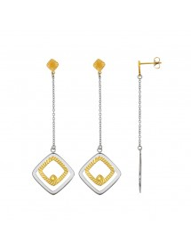 Square and dangle earrings in steel and yellow 313069 One Man Show 54,00 €