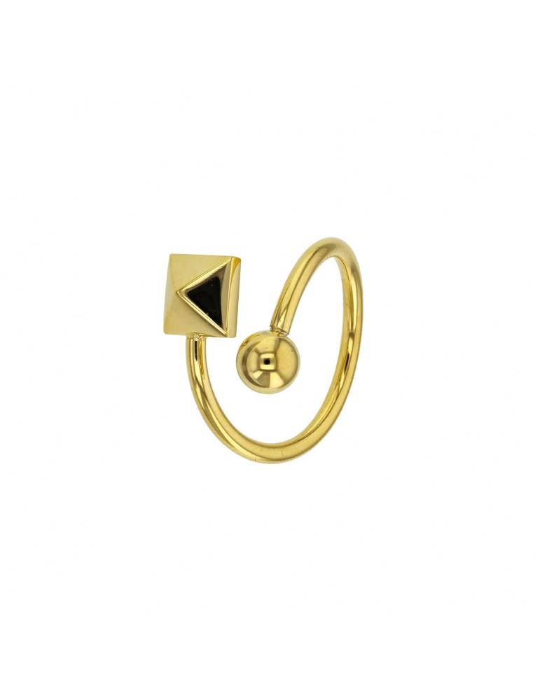 Bague spirale boule et carré en acier doré 311545D One Man Show 24,00€