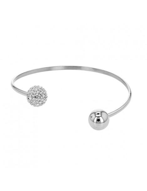 Bracelet flexible acier et cristaux avec 1 boule à chaque bout 318365 One Man Show 49,90€