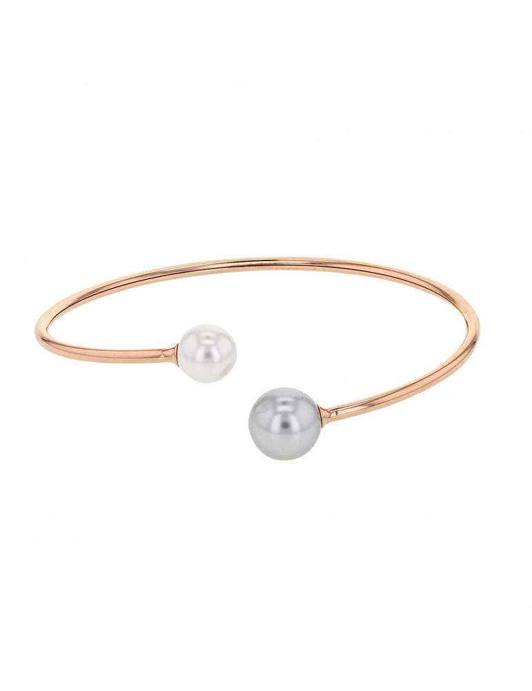 Bracelet flexible acier rose avec 2 perles synthétiques à chaque bout 318364R One Man Show 42,00€