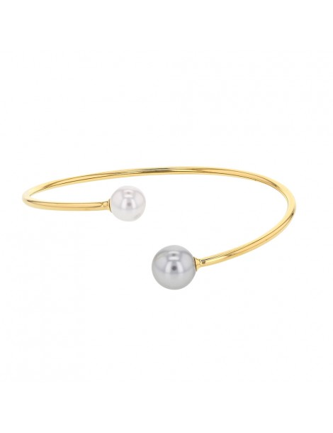 Flexible yellow steel and crystals bracelet with 1 ball at each end 318364D One Man Show 42,00€