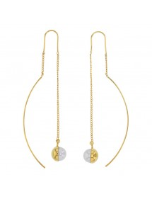 Double-wire earrings in gold-plated steel and synthetic pearl 313258 One Man Show 39,90 €