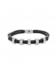 Black cord bracelet and steel beads adorned with synthetic stones 318031 One Man Show 54,90 €