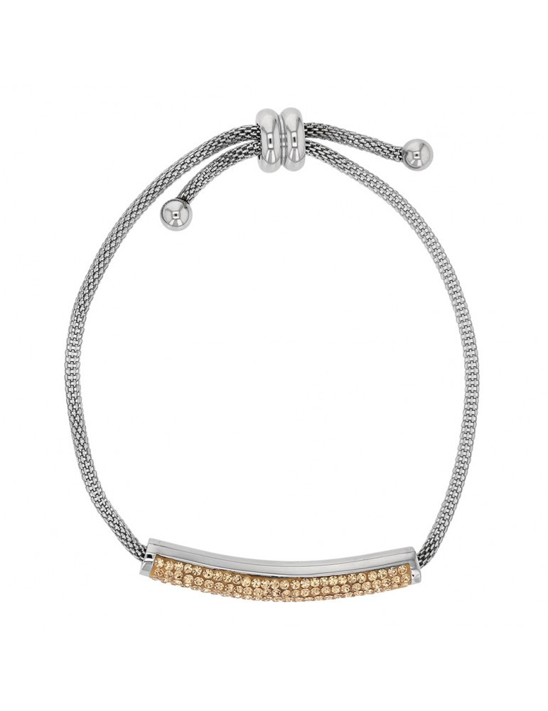 Steel bracelet with golden crystals, sliding clasp 318325M One Man Show 42,00 €