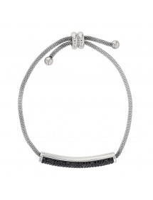 Stahlarmband mit schwarzen Kristallen, Schließe 318325N One Man Show 42,00€