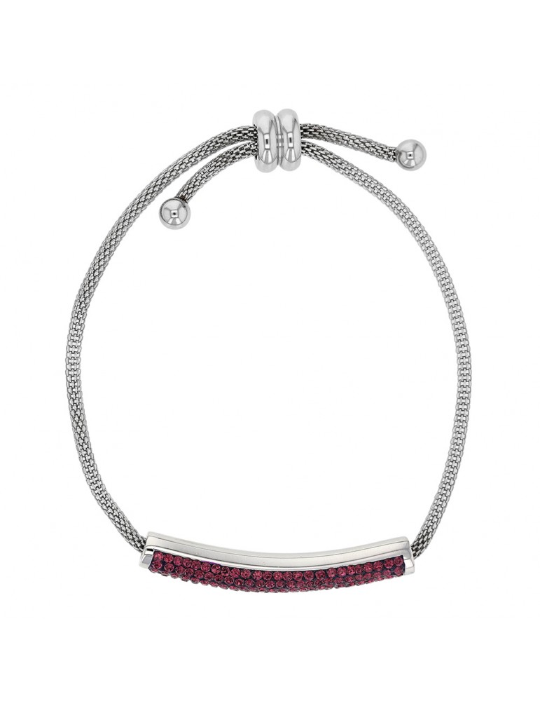 Steel bracelet with purple crystals, sliding clasp 318325V One Man Show 42,00€
