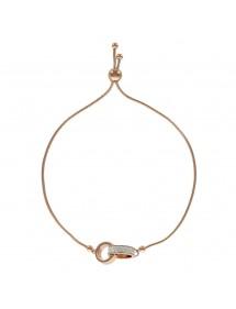 Bracelet en acier doré rose avec 2 cercles dont 1 avec des cristaux 318367R One Man Show 47,00€