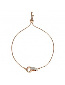 Rose gold steel bracelet with 2 circles including 1 with crystals 318367R One Man Show 34,00€