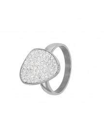 Bague acier forme arrondie ornée de pierres synthétiques blanches 311695 One Man Show 46,00€