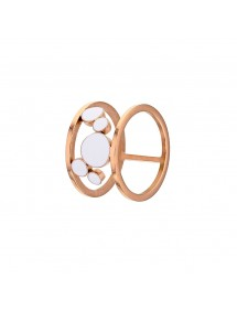 Pink gold steel ring with cascade of round white enamel 32,00 € 32,00 €