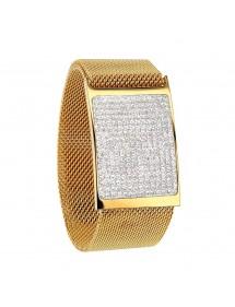 Bracelet acier milanais doré avec plaque de cristaux, fermoir aimanté 318324D One Man Show 79,90€