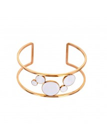 Pink steel cuff bracelet with white enamel rings 318018R One Man Show 47,90€