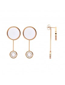 Pink steel earrings, round white enamel including 1 with crystals 313018R One Man Show 49,90€