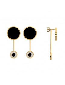 Pink steel earrings, round black enamel including 1 with crystals 313018D One Man Show 49,90€