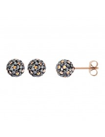 Earrings chips in pink steel ball decorated with crystals 313252 One Man Show 34,00€