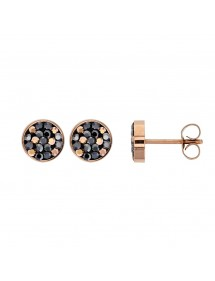 Pink steel ball stud earrings with crystals set 313253 One Man Show 34,00€
