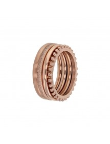Set of 4 pink steel patterned rings 311650R One Man Show 58,00€