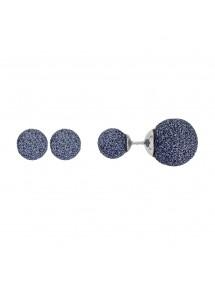 Steel earrings 2 balls blue glitter 313251BL One Man Show 34,00€