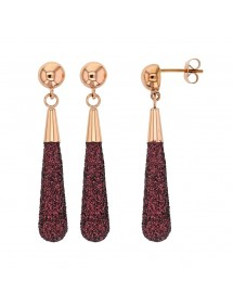 pink steel dangling earrings with plum glitter 313249RP One Man Show 48,00€
