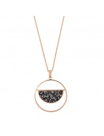 Necklace round golden-pink steel semicircle decorated with gray crystals 317035R One Man Show 39,90€