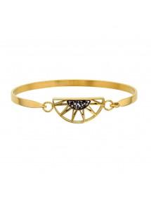 Bracelet demi-soleil en acier doré orné de cristaux gris 318019D One Man Show 54,00€