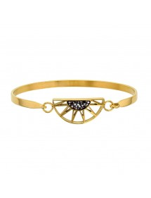 Bracelet steel half yellow sun decorated with gray crystals 318019D One Man Show 54,00€
