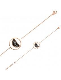 Bracelet acier doré-rose rond avec un demi-cercle et cristaux gris 318021R One Man Show 42,00€