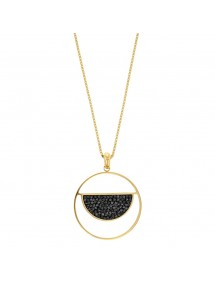 Round golden steel necklace with a semicircle adorned with black crystals 317035D One Man Show 39,90€