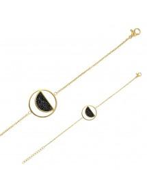 Bracelet en acier doré rond avec un demi-cercle orné de cristaux noirs 318021D One Man Show 42,00€