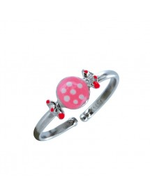 Adjustable ring decorated with a pink candy in rhodium silver 3111257 Suzette et Benjamin 27,00 €