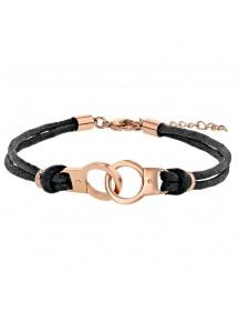 Bracelet menottes en acier doré rose et cordons en coton 318398 One Man Show 29,90€