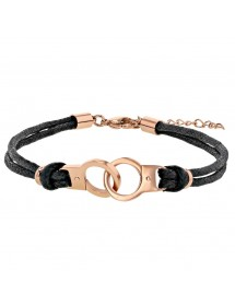 Bracelet rose gold plated handcuffs steel and cotton cords 318398 One Man Show 29,90 €