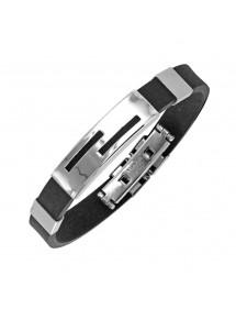 Bracelet en acier très agréable à porter et caoutchouc - 21 cm 3180824 One Man Show 26,90€