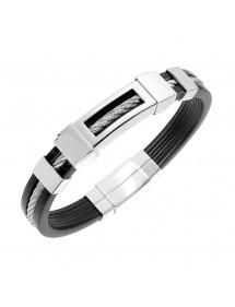 Bracelet caoutchouc avec câble acier et motifs acier en relief 39,90€ 39,90€