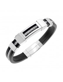 Rubber bracelet and steel cable, embossed patterns 3180117 One Man Show 39,90 €