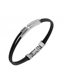 Rubber bracelet and steel cable, embossed patterns 3180822 One Man Show 29,90 €