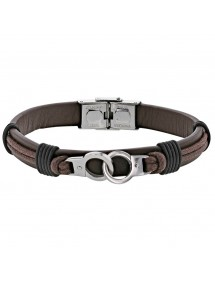 Bracelet steel handcuffs and brown cowhide leather cord 318396M One Man Show 59,90 €