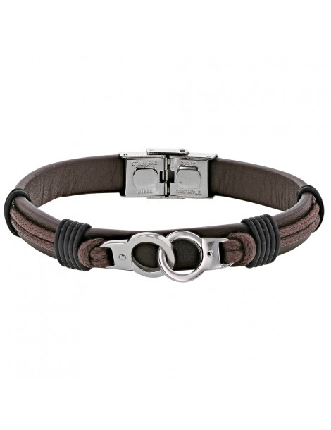 Bracelet steel handcuffs and brown cowhide leather cord 318396M One Man Show 59,90€