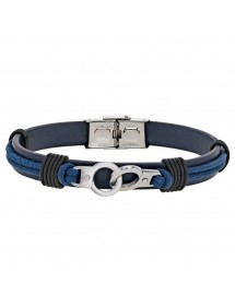 Bracelet steel handcuffs and bovine leather, blue ribbon 318396BL One Man Show 59,90 €