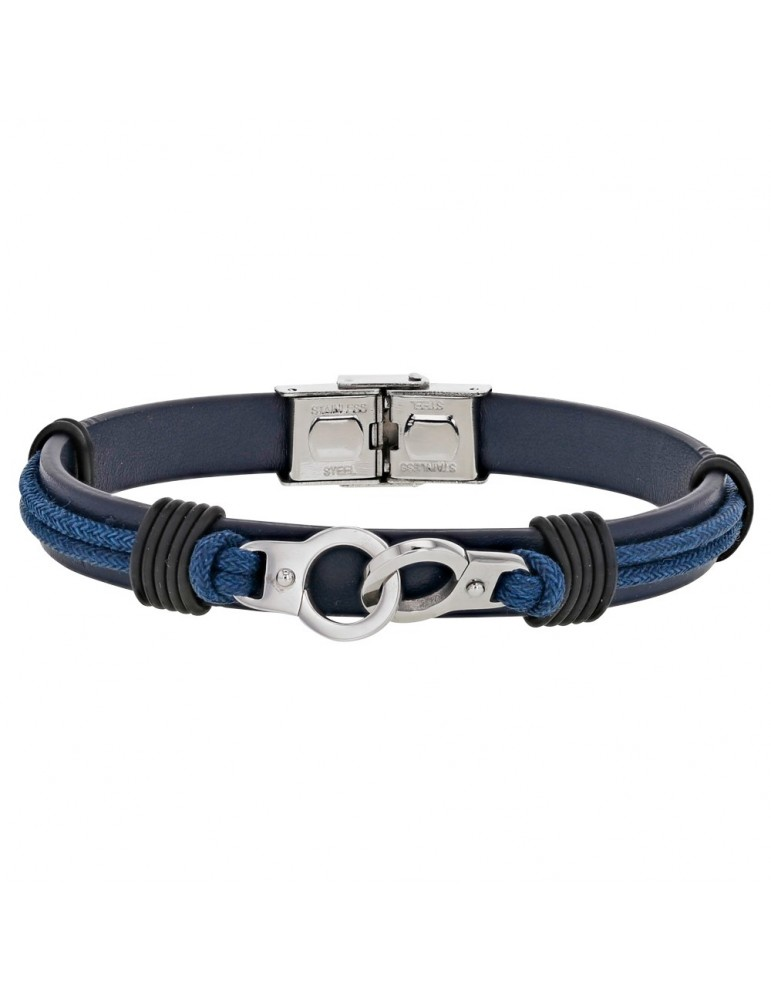 Bracelet steel handcuffs and bovine leather, blue ribbon 318396BL One Man Show 59,90€