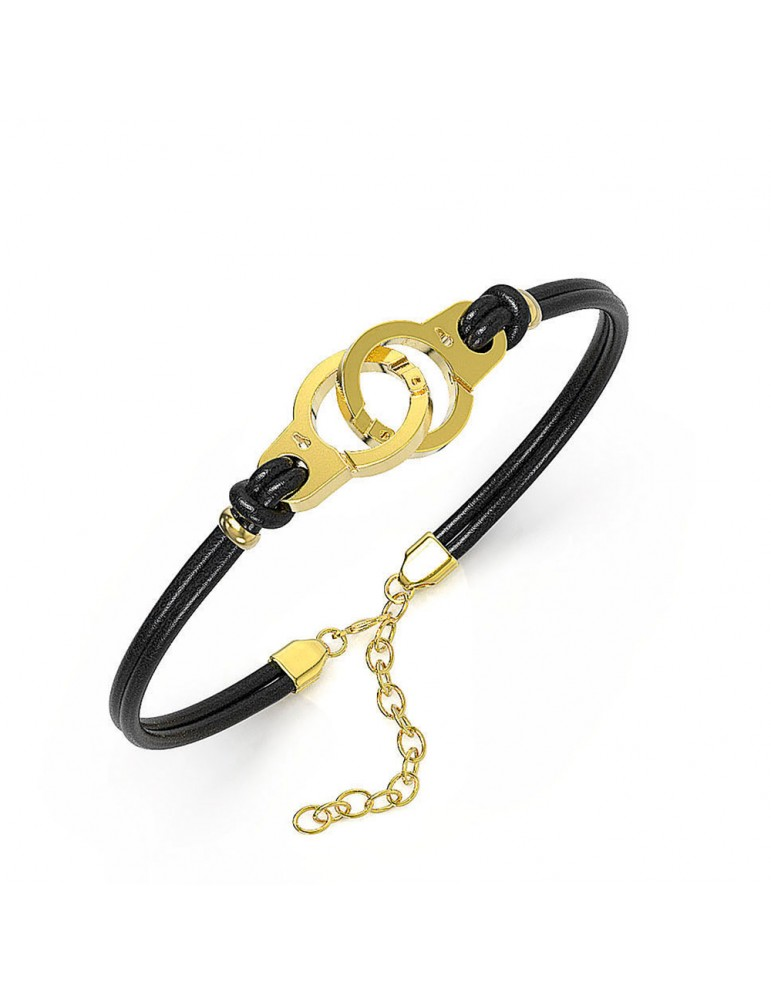Bracelet yellow steel handcuffs and black cowhide 318424DN One Man Show 39,90€