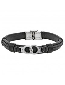 Bracelet steel handcuffs and black cowhide leather cord 318396N One Man Show 59,90 €