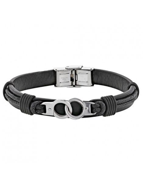Bracelet steel handcuffs and black cowhide leather cord 318396N One Man Show 59,90€