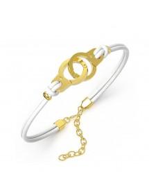 Armband Stahl Handschellen gelb und weiße Kuhhaut 318424DB One Man Show 39,90€