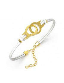 Bracelet steel handcuffs yellow and white cowhide 318424DB One Man Show 39,90 €