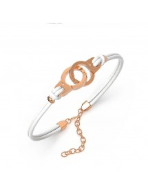 Bracelet steel handcuffs pink and white cowhide 318424RB One Man Show 39,90 €